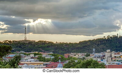 Cityscape of Rome timelapse under a dramatic sky as seen from the Pincio hill, Italy