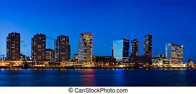 Cityscape of Rotterdam at dusk