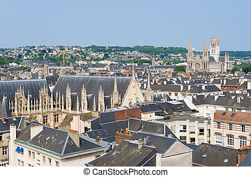 Cityscape of Rouen in a summer day