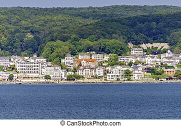 view across the Baltic sea to the city of Sassnitz on the island of R?gen, Germany
