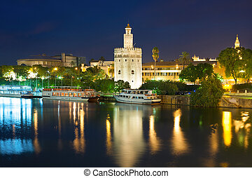 Seville at a black summer night