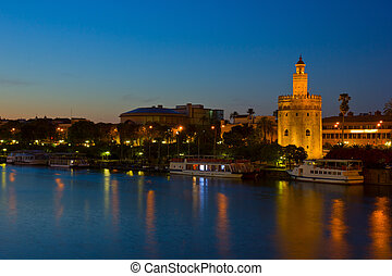 cityscape of Seville at night, Spain