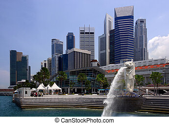 Cityscape of Singapore - View of Singapore city, harbour,...