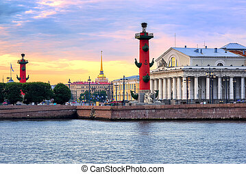 Cityscape of St Petersburg, Russia, on sunset