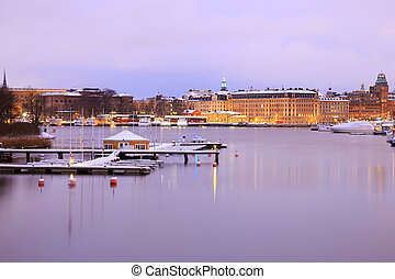 Stockholm Skyline and lake at dusk