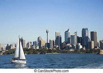 Cityscape of Sydney, Australia. - Skyscrapers and sailboat...