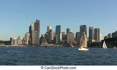 Cityscape of Sydney Harbor in Australia with Boats %u2013...