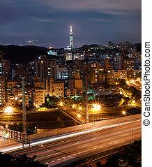 Cityscape of Taipei night