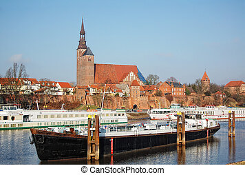 Cityscape of Tangermunde (Saxony-Anhalt, Germany) -...