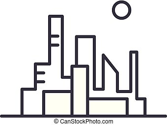 Cityscape of the capital line icon concept. Cityscape of the capital vector linear illustration, symbol, sign