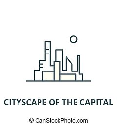 Cityscape of the capital vector line icon, linear concept, outline sign, symbol