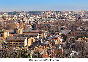 cityscape of the Rome from the height of the Janiculum Hill...