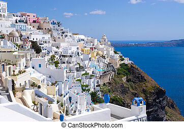 Cityscape of Thira on Santorini island, Greece