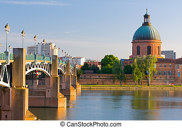Cityscape of Toulouse in a summer evening