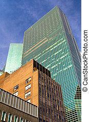 Cityscape of urban building exteriors