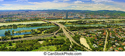 cityscape of Vienna city in Austria, aerial view