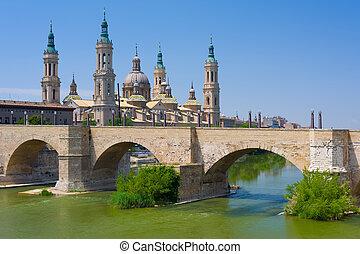 Zaragoza in a summer day