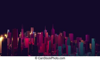 Cityscape on a dark background with bright and glowing neon purple and blue lights. 4k rendering seamless loop animation