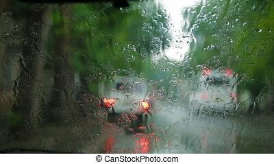 Cityscape on a rainy day
