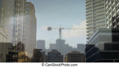 Cityscape on modern buildings 4k