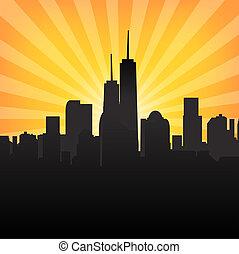 Cityscape on Sunburst Pattern