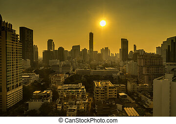 cityscape on sunset and yellow light