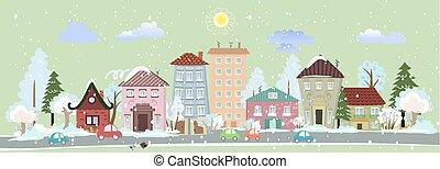 cityscape, ontwerp, winter, jouw