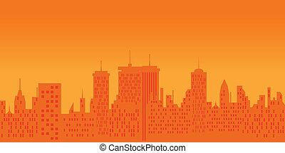cityscape, op, ondergaande zon