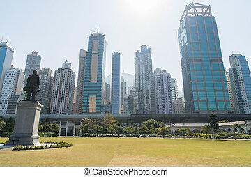 cityscape, pâle, sheung, secteur