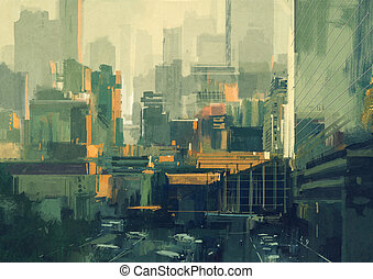 urban sky-scrapers at sunset - cityscape painting of urban ...