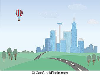 cityscape, paisaje., colinas verdes