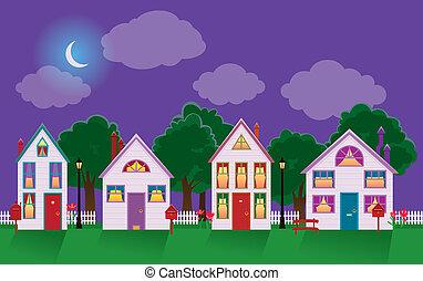 cityscape, paisible, maison, clair lune, nuit