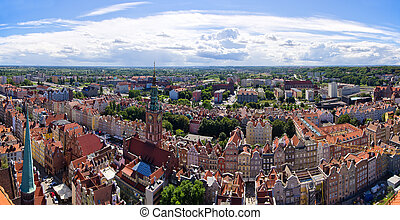 Cityscape, panorâmico, Polônia,  Gdansk