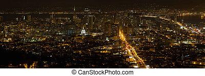 cityscape, panorama, francisco, san, notte