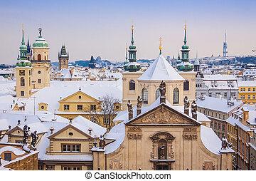 cityscape, panorama, hiver, prague