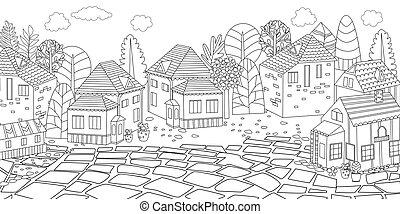 cityscape, panorama, su, libro colorear