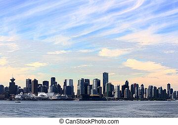 cityscape, panoramiczny, vancouver
