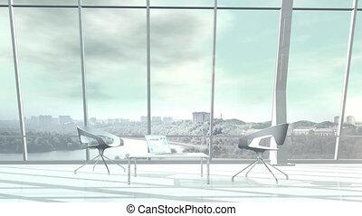 cityscape., panoramique, énorme, fenetres, négligence, bureau
