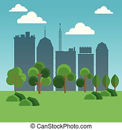 cityscape, parc, dessin animé