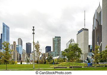 cityscape, parc, millénaire, chicago