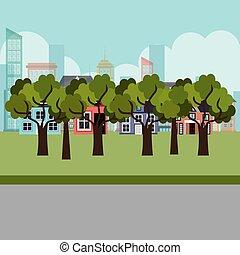 cityscape, parc, scène