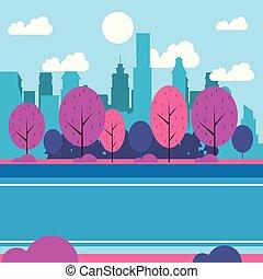 cityscape, parc ville, paysage, cartoon.