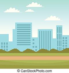 cityscape, parc, vue