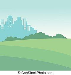 cityscape, paysage, parc, vue