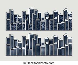 cityscape, paysage urbain, silhouettes, de, bâtiments