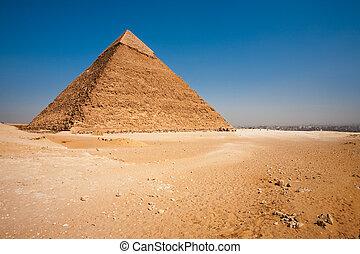 cityscape, pirámide, khafre, trasero, desierto