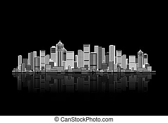 cityscape, plano de fondo, para, su, diseño, urbano, arte