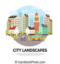 cityscape, plat, concept