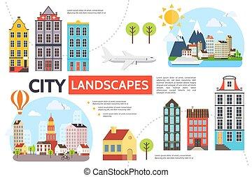 cityscape, plat, infographic, gabarit
