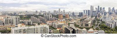 cityscape, por, río, condominios, singapur